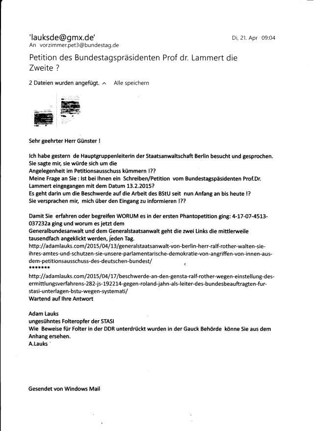 Scheint etwas zu klemmen im Referat 3 mit dem Schreiben/Beschwerde vom 13.2.2015 !? Der Brief / Beschwerde vom 13.2.2015 ist mit der Bitte um Weiterleitung an den Petitionsausschuss eingegangen. Eingangsbestätigung aus dem Petitionsausschuss liegt bis jetzt nicht vor, auch keine Antwort von dort !?