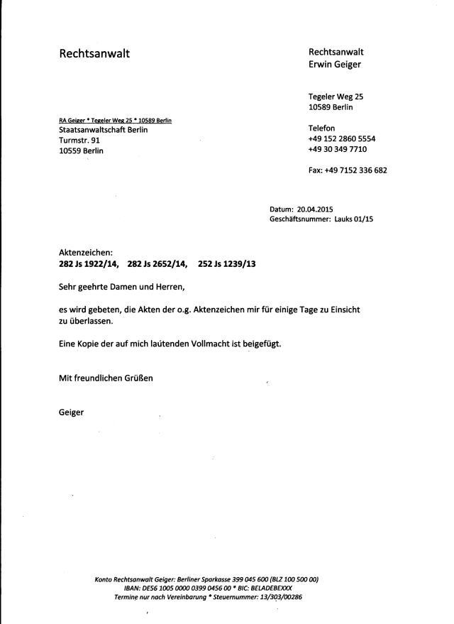 RA E.Geiger -Antrag auf Akteneinsicht