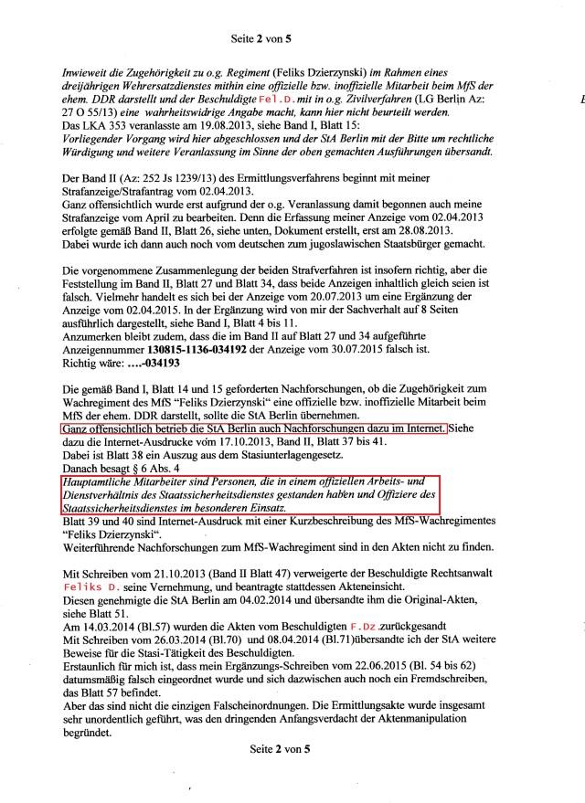 2. Stellungnahme zur Ermittlungsakte 252 Js 1239/13 Der gesamtdeutschen Justiz wehrlos ausgeliefert.