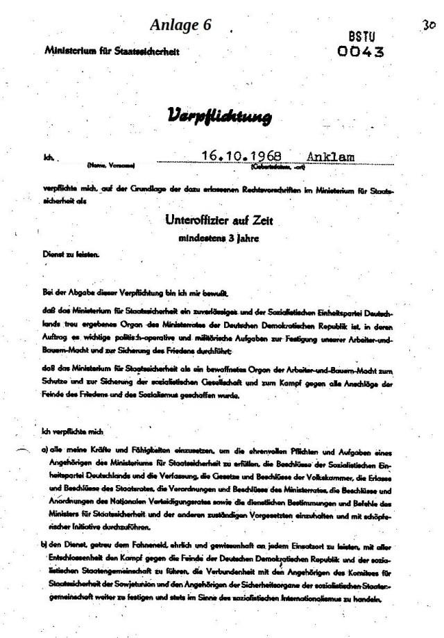 VERPFLICHTUNG FÜR MFS 001