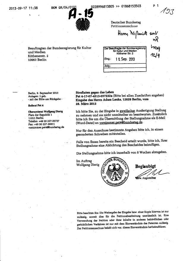 """""""Eingabe des Herrn Adam Lauks vom 28.März 2013"""""""