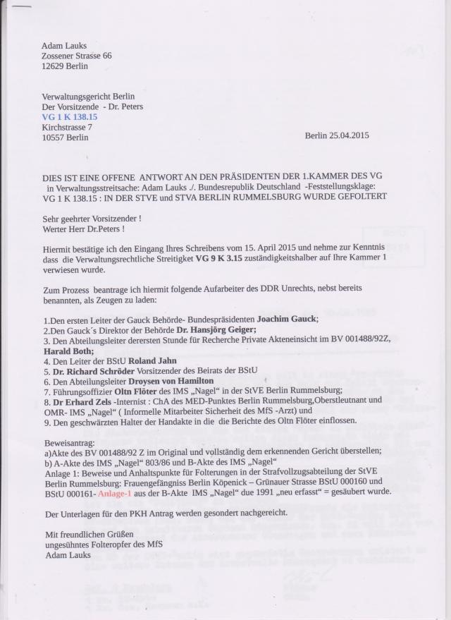VG 1 K 138.15  Gauck & Jahn als Zeugen benannt 001