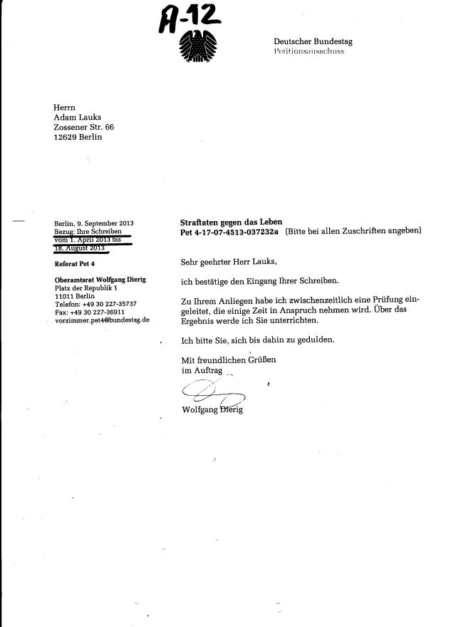 Dierig an BKM, der keine Fachaufsicht über die BStU hat: Ich bitte Sie, zu der Eingabe in