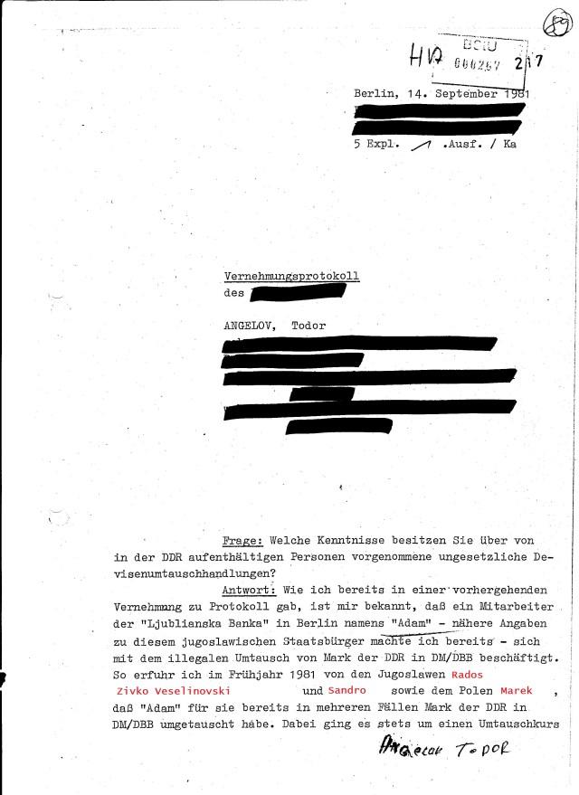 Für die HA ( Hauptabteilung) musste ein sauberes Vernehmungsprotokoll her. Am 14.9.1981 erfolgte die Version für Generalsebene, Generalmajor Fister, Generalmajor Neiber usw.