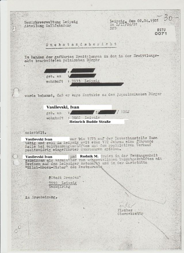 Aus dem Schreiben vom 14.8.81 erfahren wir dass Oberrat Wüllmow -als Abteilungsleiter über eine Abstimmung über ein Beobachtungsersuchen zu Ivan Vasilevski am 30.03.81 genehmigt, am 14.8.81 erfahren hatte.