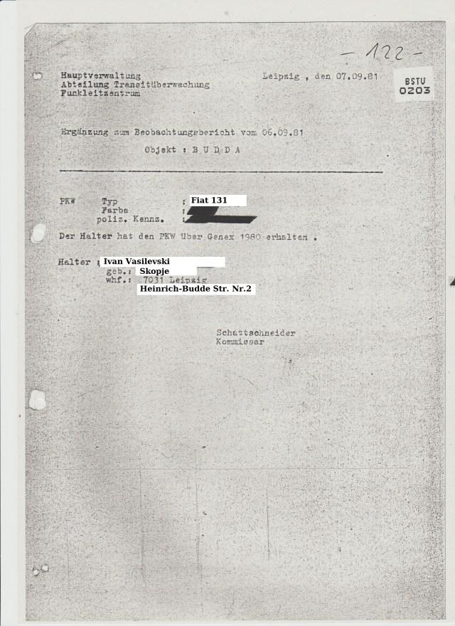 Wir durften erfahren dass Vasilevski ein Fiat 131 - Mirafiori fährt den er über Genex bestellt hatte.