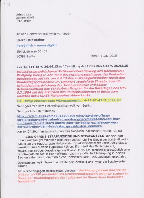 Am 04.04.2014 erstattete ich an den Generalbundesanwalt eine OFFENE STRAFANZEIGE UND STRAFANTRAG die von dort Ihnen zuständigkeitshalber zugeleitet wurde,...