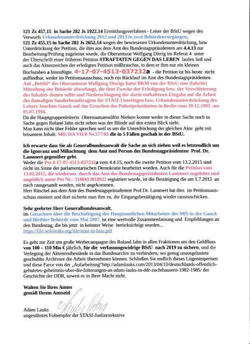 OFFENE STRAFANZEIGE UND STRAFANTRAG AN DEN GENERALBUNDESANWALT HARALD RANGE vom 04.04.2014