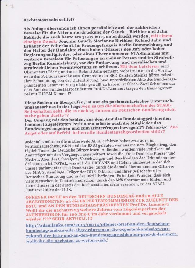 Der Umgang mit den beiden, aus dem Amt des Bundestagspräsidenten Dr. Lammert zugeleiteten Petitionen müsste auch die Mitglieder des Bundestages angehen und zum Hinterfragen bewegen !?? - Fehlanzeige! Aus Angst oder auf Bwefehl halten ALLE Bundestagsabgeordneten still !??