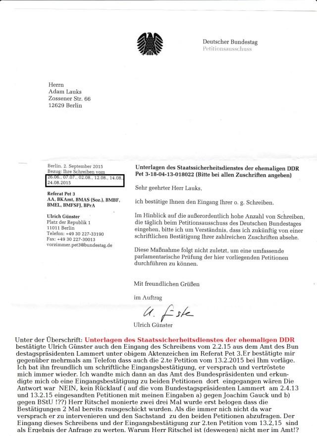 Das Schreiben  vom 13.2.2015 ist die Petition Nr. 2 die  HIER  fehlt, nicht angegeben wurde !?? Statt dessen  uog die  Referat Pet 4 an sich und liweß sie unter falschem Titel und unter altem Aktenzeichen  verschwinden.