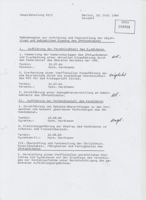 Maßnahmeplan zur Aufklärung undFeststellung der Objektiven und subjektiven Eignung des IM-Kandidaten