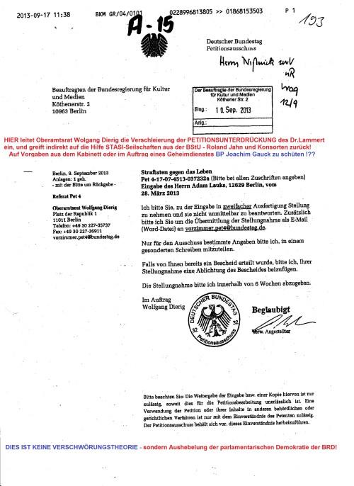 Ich bitte Sie, zu der Eingabe in zweifacher Ausfertigung Stellung zu nehmen und sie nicht unmittelbar zu beantworten. & Nur für den Ausschuss bestimmte Angaben bitte ic, in einem Gesonderten Schreiben mitzuteilen.