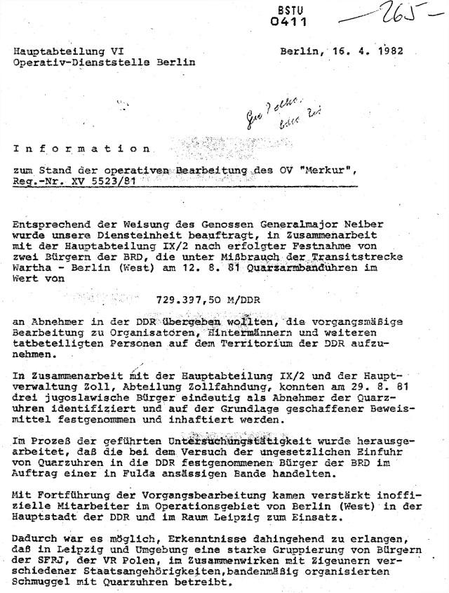 "MfS Jagd auf ""Merkur """