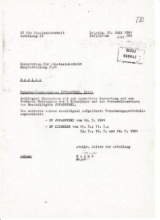 Eine Woche später wieder Anfrage an Berlin an die HA IX/8