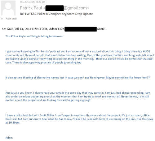 July 14, 2014 email to Patrick