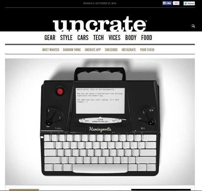 Hemingwrite on Uncrate.com