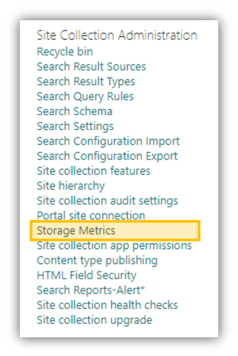 Site Collection Administration  Recycle bin  Search Result Sources  Search Result Types  Search Query Rules  Search Schema  Search Settings  Search Configuration Import  Search Configuration Export  Site collection features  Site hierarchy  Site collection audit settings  nn  Storage Metrics  Ion app permissions  Content type publishing  HTML Field security  Search Reports-Alert•  Site collection health checks  Site collection upgrade