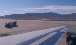 View from plane sitting on tarmac at El Paso International Airport
