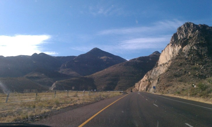 Driving up Franklin Mountains pass from El Paso airport