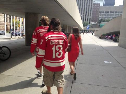 Dan, Jon, and Cara walking downtown Toronto