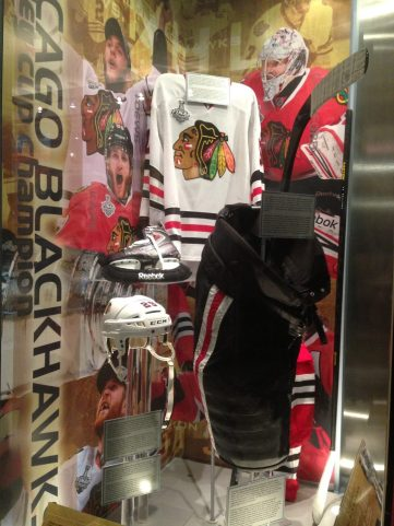 2013 Chicago Blackhawks Stanley Cup gear display at the Hockey Hall of Fame