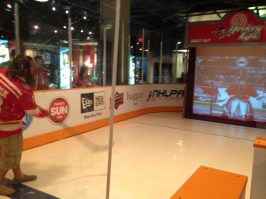 Dan shooting at the virtual goalie in the HHOF