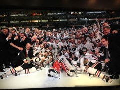 Wall display of the Chicago Blackhawks after winning the cup in 2013