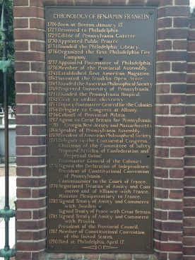 Benjamin Franklin chronology plaque, Philadelphia