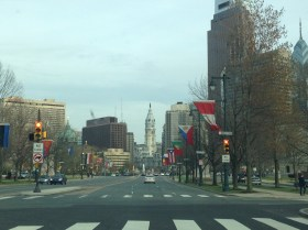 View heading towards Philadelphia City Hall