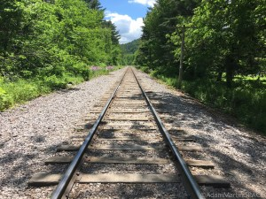Devils Lake State Park - Crossing a set of train tracks to start the East Bluff Trail loop