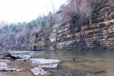 Waterloo Falls - Cliffs along Spring Creek before the falls