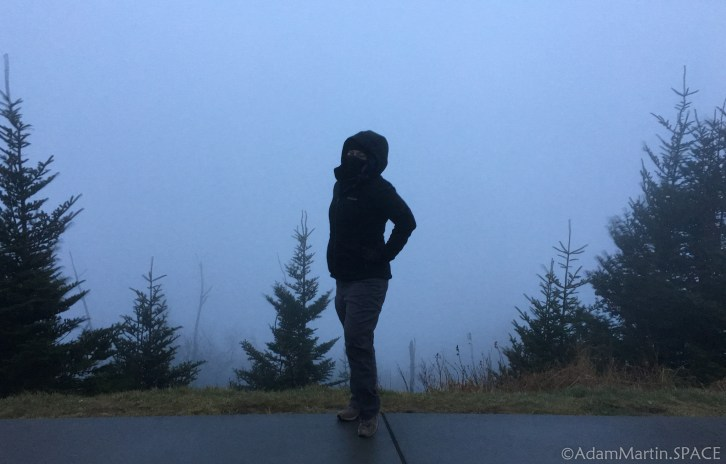 Clingmans Dome - Kelly posing in front of the amazing foggy views