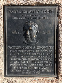 Death Valley - Padre Crowley Point plaque
