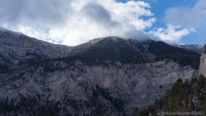 Mount Charleston - Snow flurries intermittently falling at top of Mary Jane Falls hike