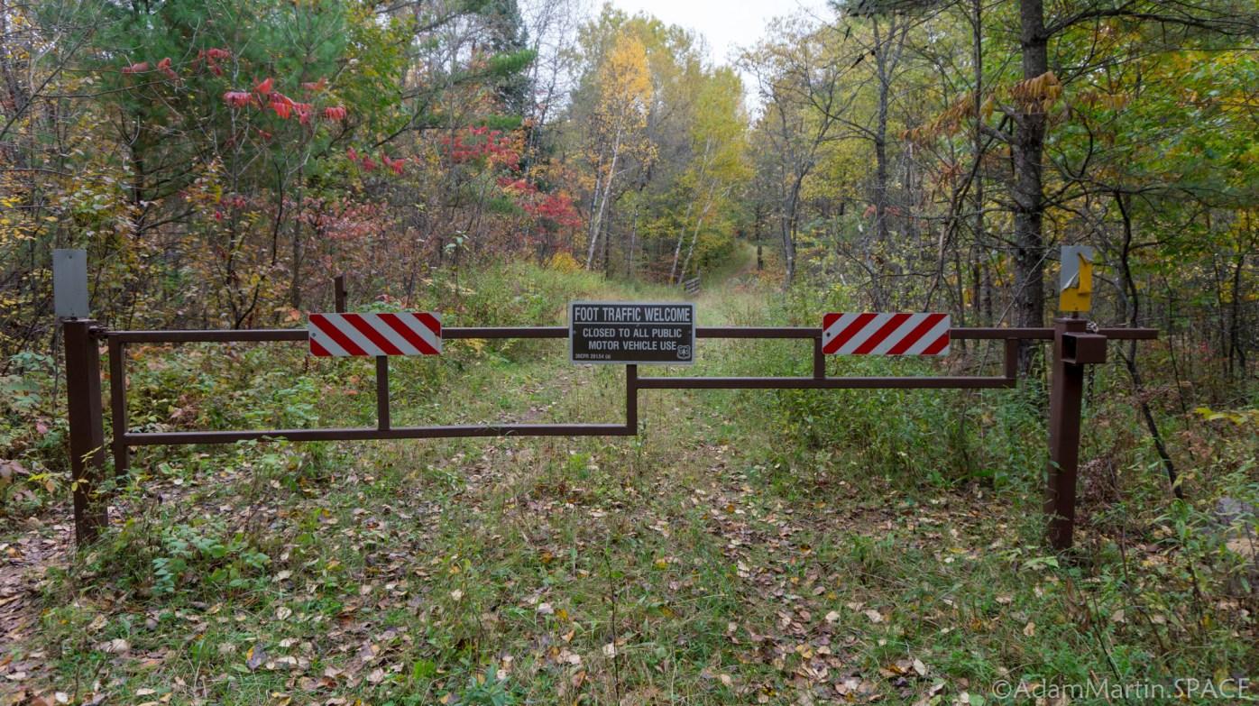 Waupee Creek Rapids - Gate at Trail Head
