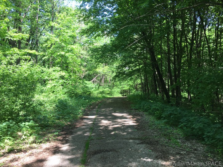 Belmont Mound State Park - Hiking back down from observation tower on paved path