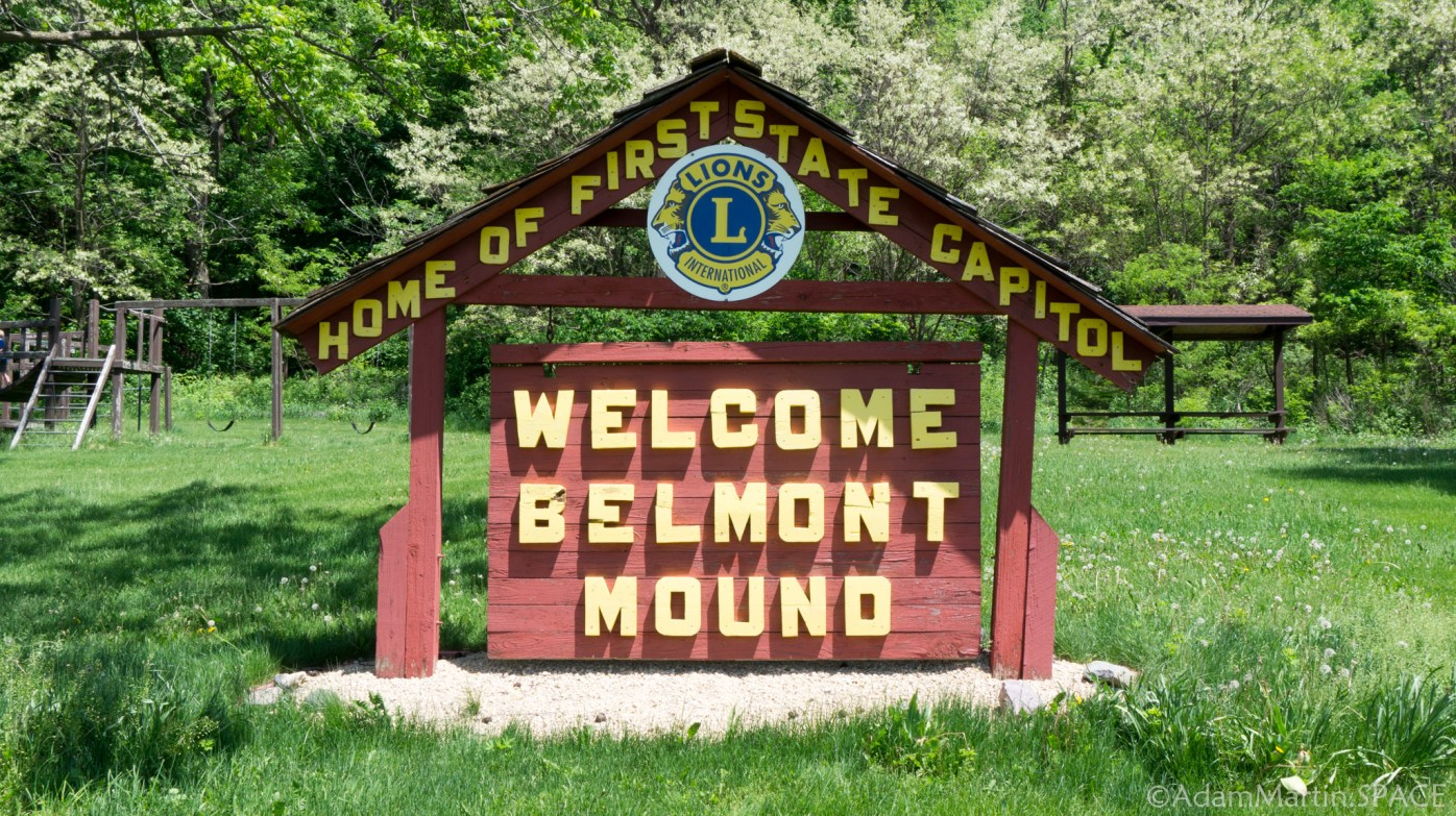 Belmont Mound State Park - Welcome sign