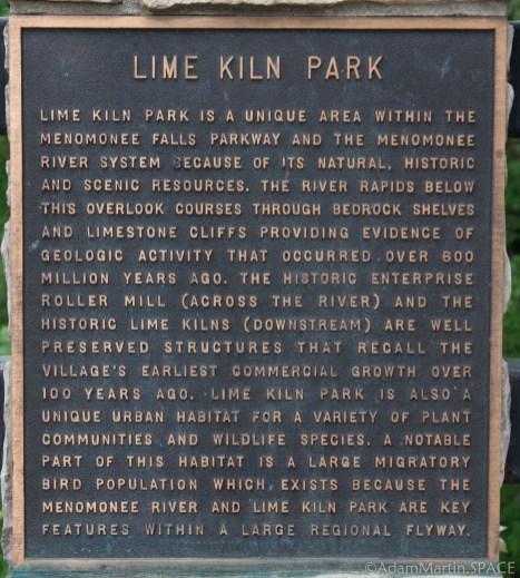 Menomonee Falls - Plaque in Lime Kiln Park