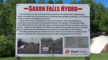 Saxon Falls - Hydro power dam sign