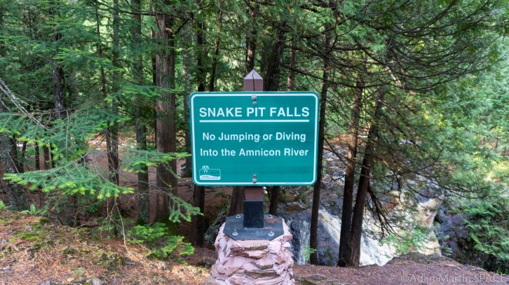 Amnicon Falls State Park - Sign at Snake Pit Falls