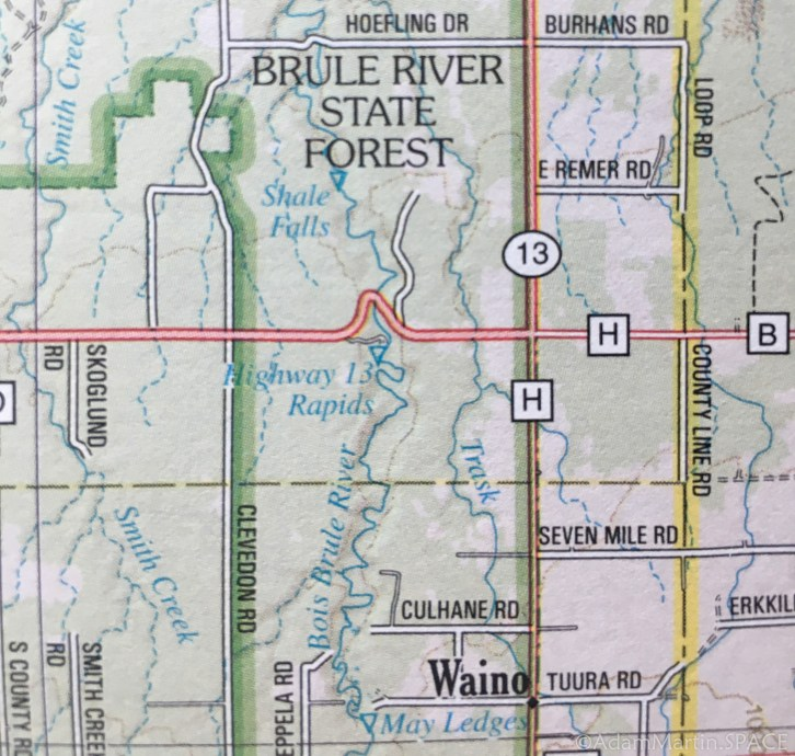Shale Falls (Failed) - Forest map showing falls location