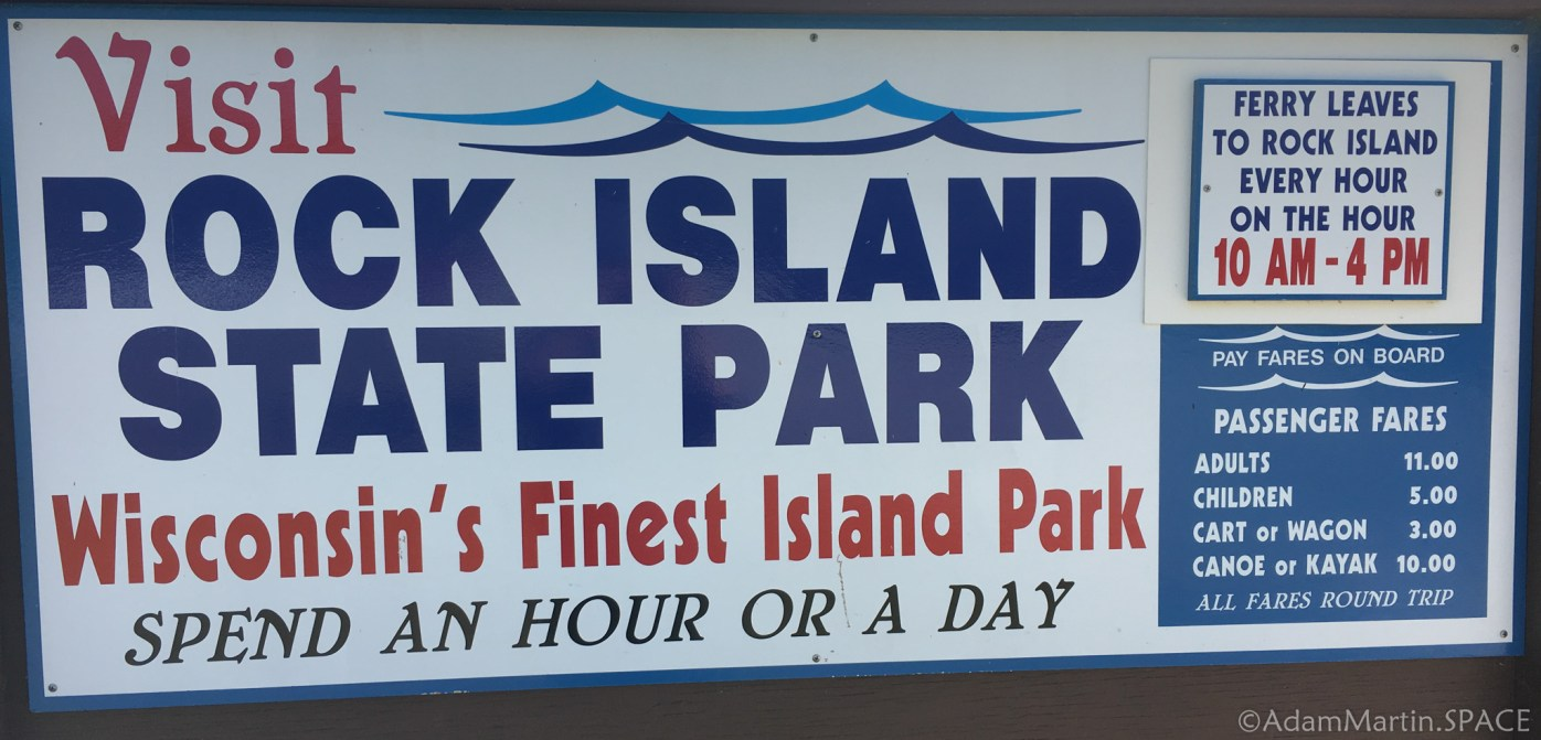 Washington Island - Large sign for Rock Island State Park ferry
