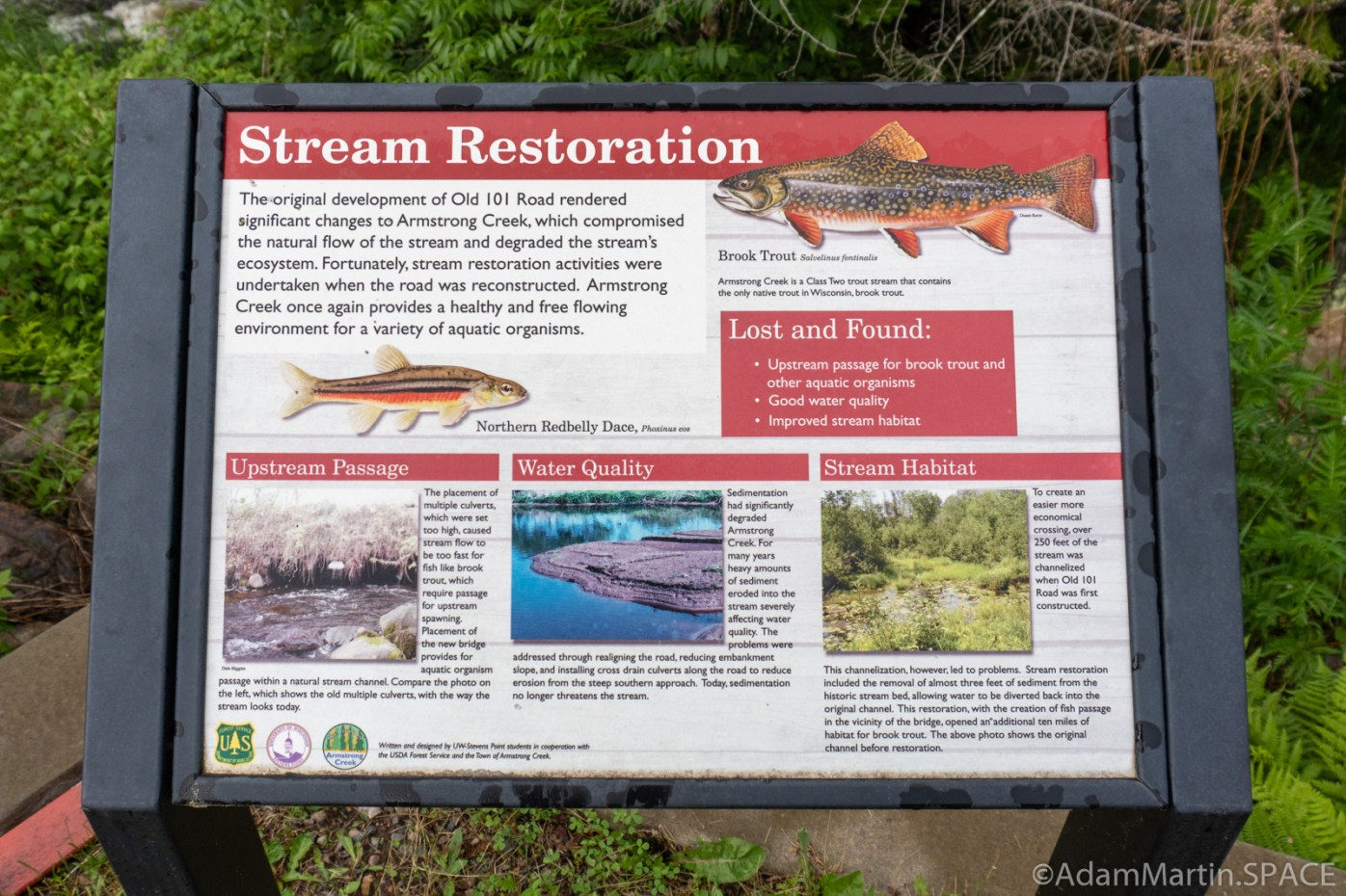 "Armstrong Creek Rapids - ""Stream Restoration"" sign"