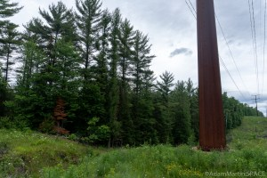 Bull Falls (Amberg) - Trail starts to left of power lines