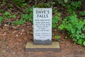 Dave's Falls – Memorial Tombstone