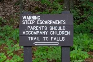 Dave's Falls – Warning sign