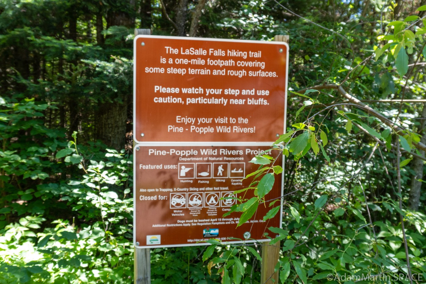 LaSalle Falls - Wisconsin DNR sign