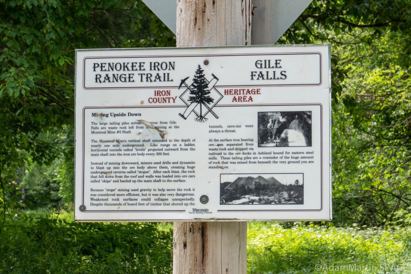 Gile Falls - Penokee Iron Range Trail sign