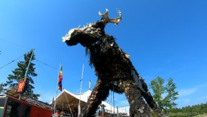 Giant moose parade float at Tom's Burned Down Cafe