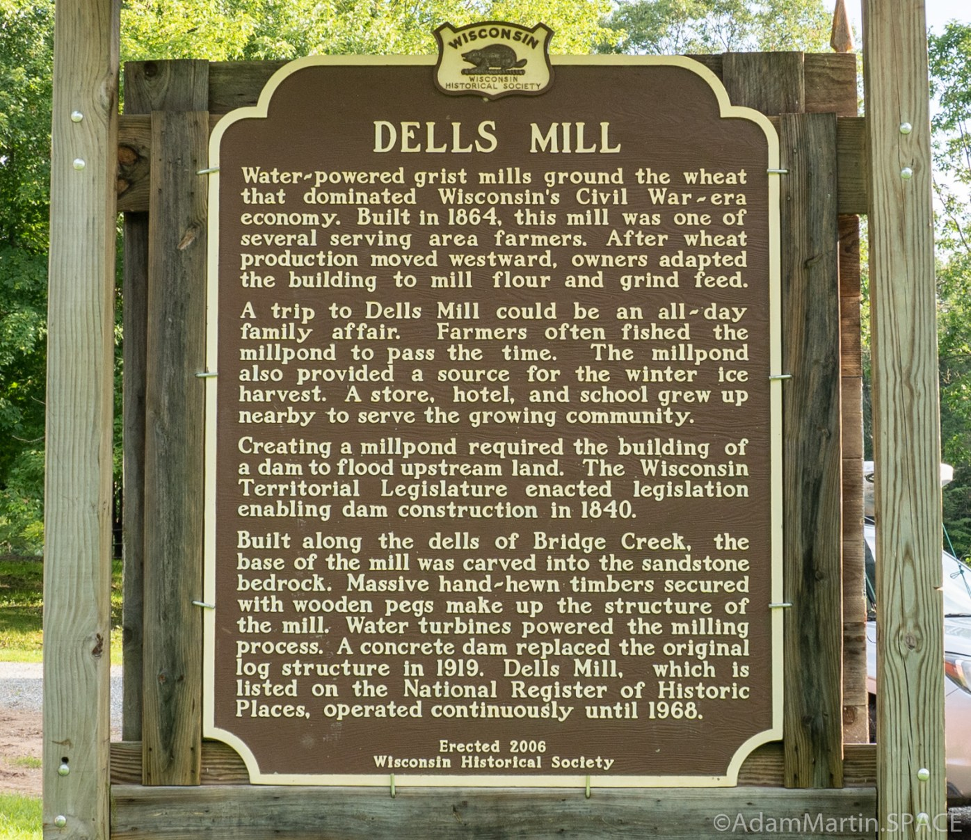 Dells Mill - Wisconsin Historic Society sign